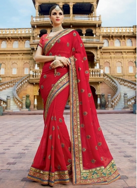 Faux Georgette Booti Work Contemporary Style Saree