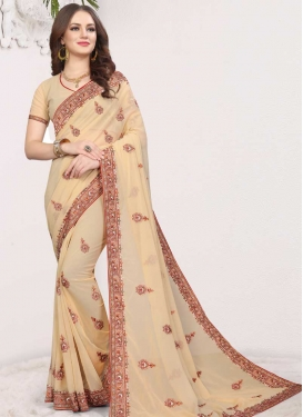 Faux Georgette Booti Work Designer Contemporary Saree
