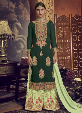 Faux Georgette Booti Work Designer Palazzo Salwar Suit