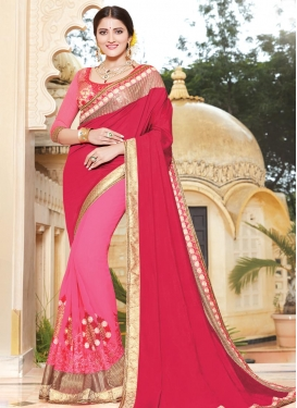 Faux Georgette Booti Work Half N Half Saree