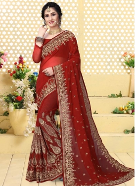 Faux Georgette Booti Work Trendy Classic Saree