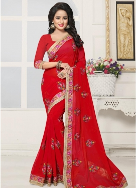 Faux Georgette Booti Work Trendy Saree