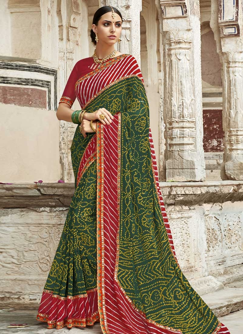 Faux Georgette Bottle Green and Crimson Bandhej Print Work Traditional Saree