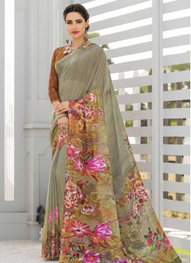 Faux Georgette Brown and Grey Digital Print Work Designer Contemporary Style Saree