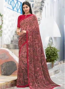 Faux Georgette Brown and Pink Digital Print Work Trendy Classic Saree