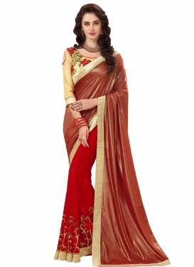 Faux Georgette Brown and Red Embroidered Work Half N Half Trendy Saree