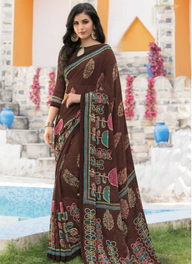 Faux Georgette Classic Saree For Casual