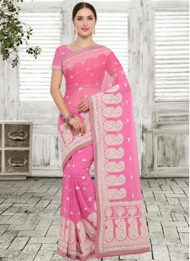 Faux Georgette Classic Saree For Festival