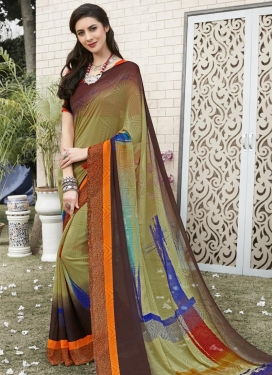 Faux Georgette Coffee Brown and Olive Contemporary Saree
