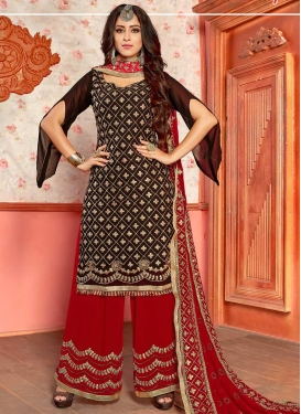 Faux Georgette Coffee Brown and Red Embroidered Work Designer Palazzo Salwar Kameez