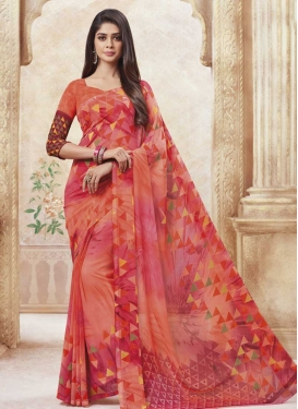 Faux Georgette Contemporary Saree For Casual