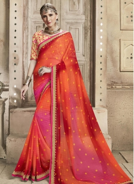 Faux Georgette Coral and Rose Pink Bandhej Print Work Contemporary Style Saree