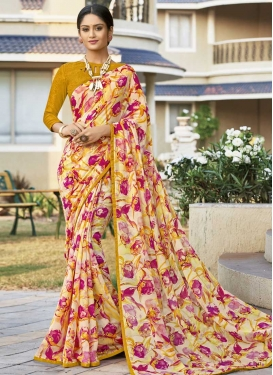 Faux Georgette Cream and Gold Contemporary Saree