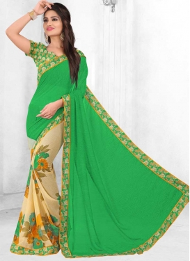 Faux Georgette Cream and Green Half N Half Trendy Saree