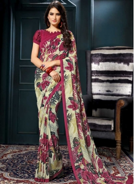 Faux Georgette Cream and Magenta Digital Print Work Trendy Saree