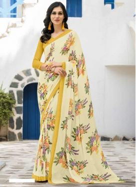 Faux Georgette Cream and Mustard Digital Print Work Traditional Designer Saree
