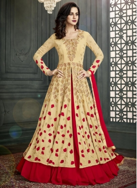 Faux Georgette Cream and Red Kameez Style Lehenga Choli
