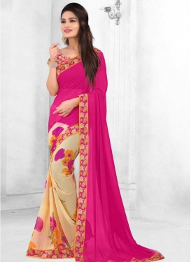 Faux Georgette Cream and Rose Pink Half N Half Designer Saree