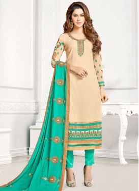 Faux Georgette Cream and Turquoise Embroidered Work Pant Style Designer Salwar Kameez