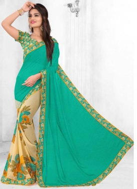 Faux Georgette Cream and Turquoise Half N Half Saree