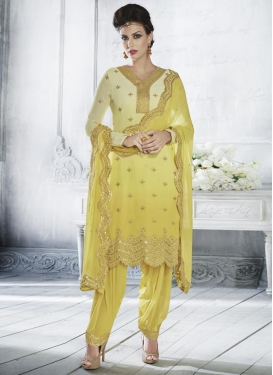 Faux Georgette Cream and Yellow Embroidered Work Punjabi Salwar Kameez