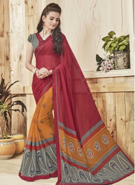 Faux Georgette Crimson and Orange Lace Work Half N Half Designer Saree