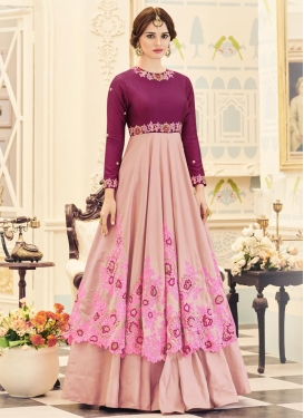 Faux Georgette Cutdana Work Long Length Designer Suit