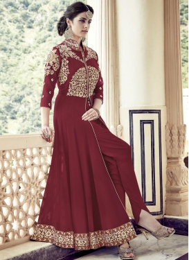 Faux Georgette Designer Ankle Length Suit For Festival
