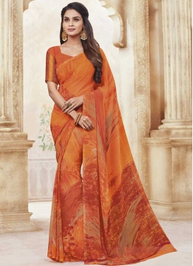 Faux Georgette Designer Contemporary Saree For Casual