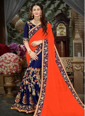 Faux Georgette Designer Half N Half Saree For Ceremonial