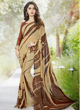 Faux Georgette Digital Print Work Beige and Brown Trendy Classic Saree