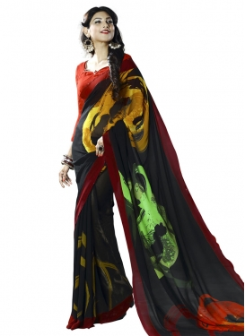 Faux Georgette Digital Print Work Black and Mint Green Contemporary Style Saree