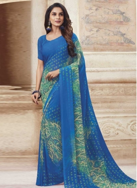Faux Georgette Digital Print Work Blue and Cream Designer Traditional Saree