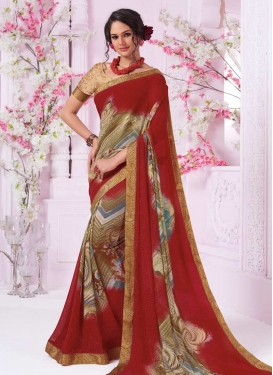 Faux Georgette Digital Print Work Classic Saree