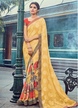 Faux Georgette Digital Print Work Classic Saree For Ceremonial