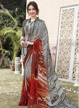 Faux Georgette Digital Print Work Contemporary Saree