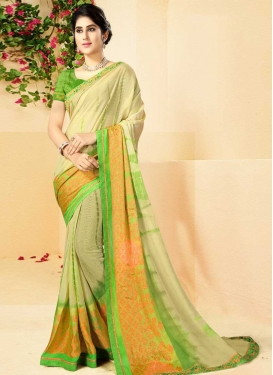 Faux Georgette Digital Print Work Cream and Mint Green Traditional Designer Saree