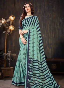 Faux Georgette Digital Print Work Designer Contemporary Saree