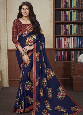 Faux Georgette Digital Print Work Designer Contemporary Style Saree