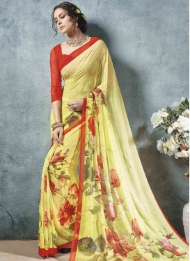 Faux Georgette Digital Print Work Designer Contemporary Style Saree For Festival