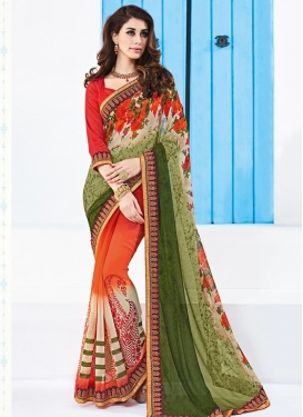 Faux Georgette Digital Print Work Half N Half Designer Saree