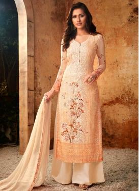 Faux Georgette Digital Print Work Palazzo Style Pakistani Salwar Suit