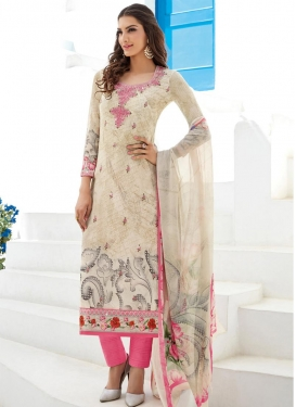 Faux Georgette Digital Print Work Pant Style Pakistani Suit