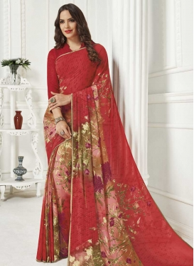 Faux Georgette Digital Print Work Pink and Red Contemporary Style Saree