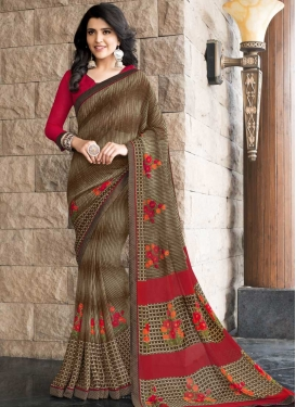 Faux Georgette Digital Print Work Traditional Saree