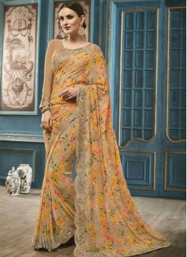 Faux Georgette Digital Print Work Trendy Classic Saree