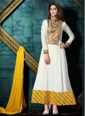 Faux Georgette Embroidered Work Ankle Lenght Suit