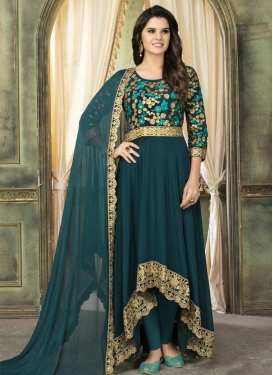 Faux Georgette Embroidered Work Asymmetrical Anarkali Salwar Suit