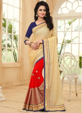 Faux Georgette Embroidered Work Beige and Red Half N Half Trendy Saree