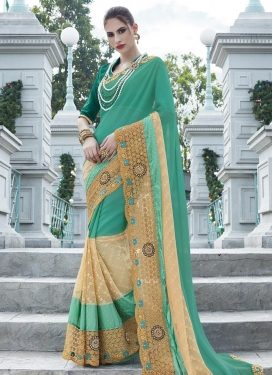 Faux Georgette Embroidered Work Beige and Sea Green Classic Designer Saree
